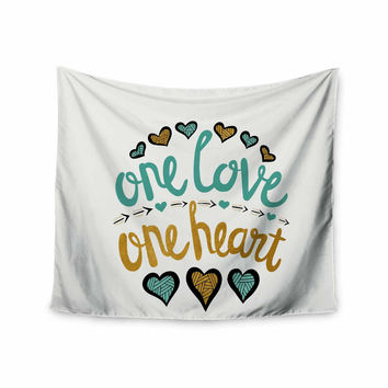 "Pom Graphic Design ""One Love One Heart"" Gold Teal Typography Illustration Wall Tapestry"
