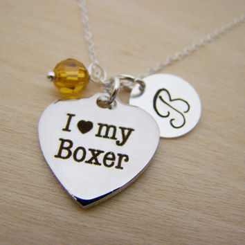 I Love My Boxer Charm Swarovski Birthstone Initial Personalized Sterling Silver Necklace / Gift for Her - Dog Owner Necklace