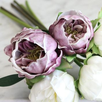 "Real Touch Mini Peony Wedding Bouquet in White and Lavender - 14.5"" Tall"