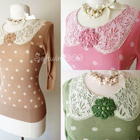 NEW Coffe Pink Green Polka Dot Lace Peter Pan Collar Beaded Knit Sweater Top ♥