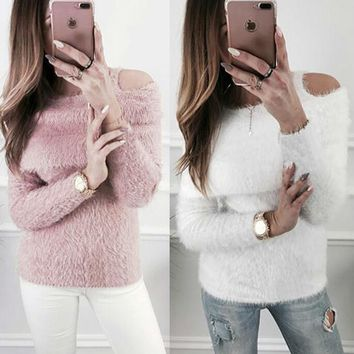 Women Plush Sweater Loose Long Sleeve Jumper Pullover Tops 2018 Winter Autumn Women Clothes