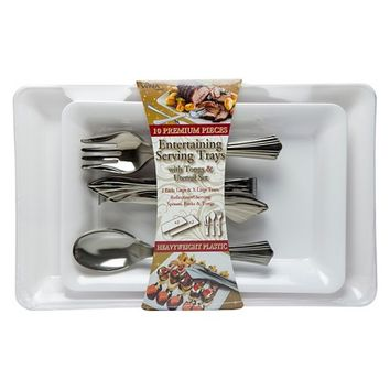 Serving Tray Set with Reflections® Silver Plastic Serving Utensils, 10ct.