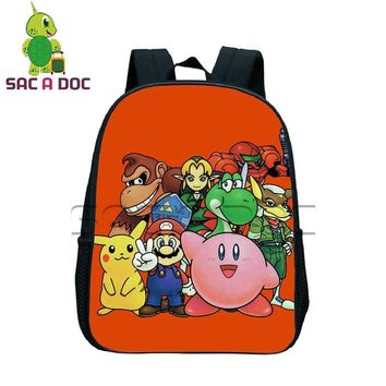 Hot Game Chibi Super Mario  Kirby Printing Backpack Boys Girls School Bags Children Book Bag Daily Backpack Best Gift BagKawaii Pokemon go  AT_89_9