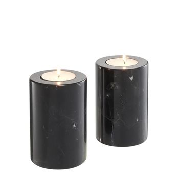 Black Marble Candle Holders 2 | Eichholtz Tobor S