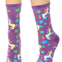 Magical Unicorns Crew Socks in Purple