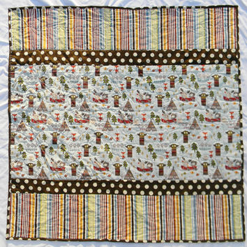 Fox baby blanket - Baby quilt - Fox nursery bedding - Ready to ship