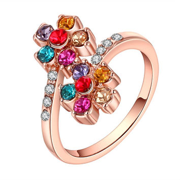 Rose Gold Plated Rainbow Colored Orchid Ring
