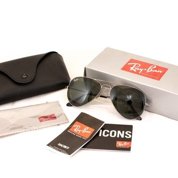 Ray Ban Aviator Sunglasses, Dark Silver Metal frame, Grey Lens 55mm, RB3025