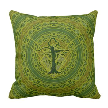 Green Abstract Old Withered Tree Throw Pillow