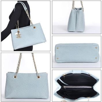 CHANEL V stitch Chain Tote Bag Purse Shoulder Coco mark Light Blue Leather Charm