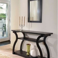 Sofa Table Entryway Hallway Living Room Furniture Shelf Contemporary Wood Black