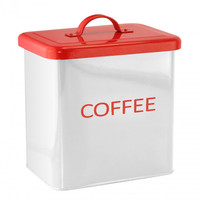 White And Red Kitchen Canister For Coffee