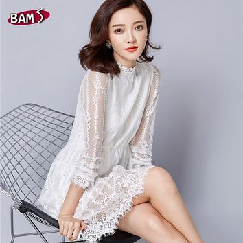 White Lace Dress 2017 New Spring Women Elegant Vintage Floral Hollow Crochet Runway Long Sleeve Stand Collar Tunic Shirt Dress