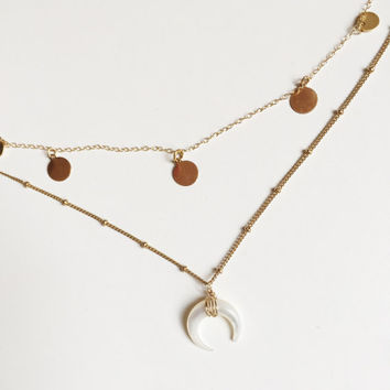 Sarina mini disc necklace #layering necklace