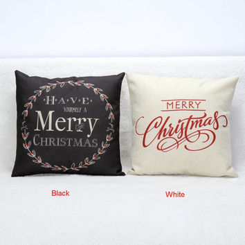 2015 Hot Christmas Decorations for Home Vintage Christmas Letter Sofa Bed Pillow Decoration Navidad free shipping