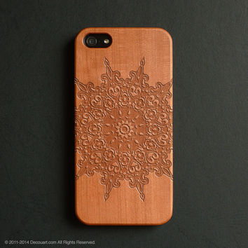 Real wood engraved mandala pattern iPhone case S013