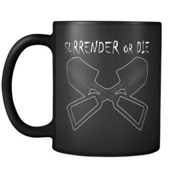 Surrender or Die Cross E-Tool Black Coffee Mug