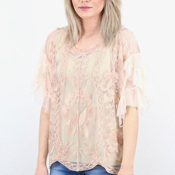 Sheerly Divine Metallic Lace Overlay Blouse {Rose Gold}