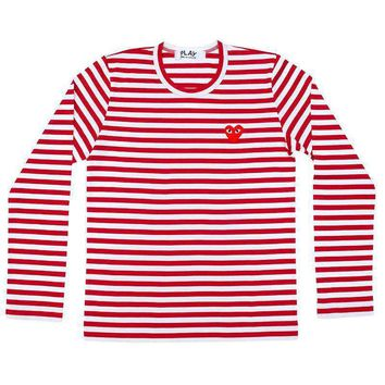 Comme des Garcons play stripe t-shirt man -Red White