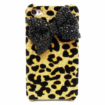 Bling leopard iphone 4 Case Black Bow iphone 4G Case by jason118