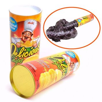 Funny Potato Chip Can Jump Spring Snake Toys Gifts April Fool Day Halloween Party Decoration Jokes Prank Trick Fun Joke Toys