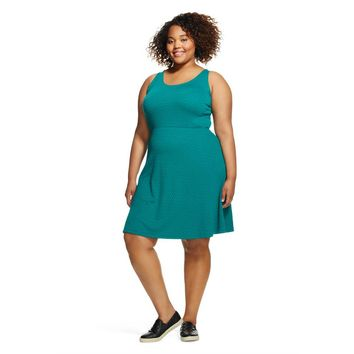 Women's Plus Size Sleeveless Textured Skater Dress - Mossimo Supply Co.(Juniors')