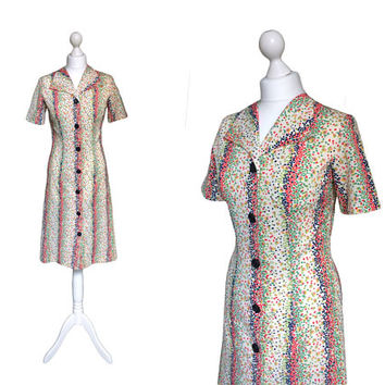 Vintage 70's Dress | 1970's Dress | Multi Colour Speckle Short Sleeve Shirt Dress
