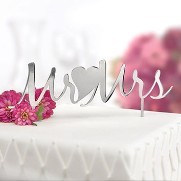 Mr. and Mrs. Silver Elegant Metal Cake Pick Cake Topper
