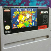 Vintage Super Nintendo Video Game / The Simpson's / Bart's Nightmare / 1991 / Japan /