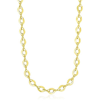 14K Yellow Gold Textured Infinity and Marquis Motif Necklace