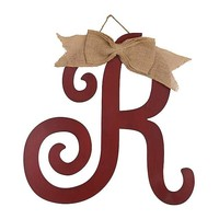 Distressed Red Monogram R Plaque