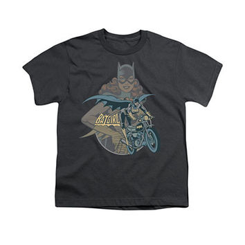 Batman Batgirl Biker Gray Youth Unisex T-Shirt