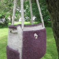 Messenger Bag a Knitted Felted Tote with 5 outside pockets