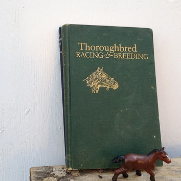 vintage horse equestrian thoroughbred horses western cowboy book display cabin decor 40s rustic home