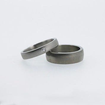 Matching wedding ring set, titanium wedding band, diamond wedding ring, thin titanium ring, men wedding ring, matte, contemporary, women