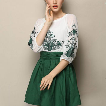 Green Embroidered Half Sleeve Chiffon Pleated A-line Mini Dress