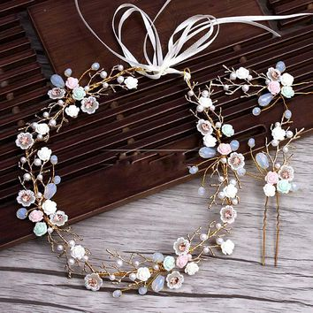 golden branches Ceramic Flower Headband hairpins Suit wedding tiara hair decoration for brides Wedding hair Accessories