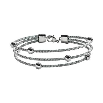 Sterling Silver Plate & Stainless Steel Bead Station Cable Multistrand Bracelet