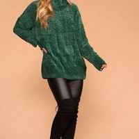 Maureen Hunter Green Chenille Knit Turtleneck Sweater