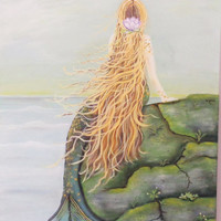 Mermaid on a Cliff Mixed Media Painting. Red Hair Green Rock Wall Art. Original Artwork on Canvas