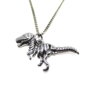 T Rex Dinosaur Skeleton Fossil Animal Bones Pendant Necklace in Silver