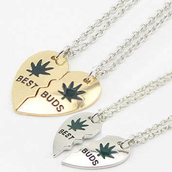 Cool Weed Leaf Loving Heart Pendant Chain Unisex Exaggerated Choker Necklace