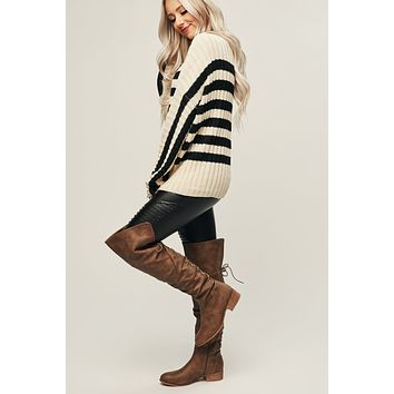 Savory Striped Sweater (Ivory)