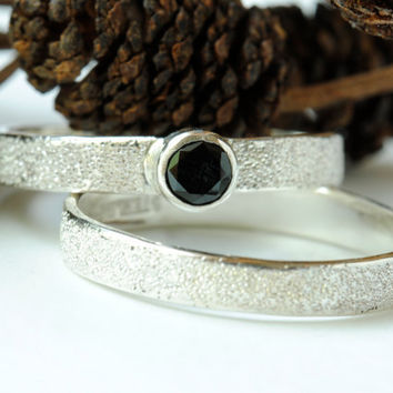 Black Spinel Wedding Ring Set, in Sterling Silver, Pave' Finish, Diamond Alternative