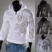 Mens Tattooed Graphic Pullover Hoodie