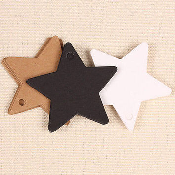 100 pcs Star Kraft Paper Wedding Party Card Gift Bookmark Label Luggage Tags