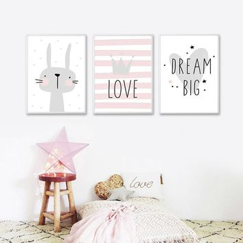 Pink Cute Rabbit Cartoon Crown Dalin Nordic Poster Girl Princess Bedroom Wall Art Canvas Painting Home Picture Wall Decoration