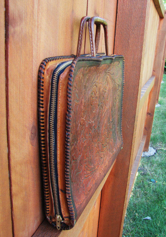 Vintage Hand Tooled Leather Briefcase From Vintagetins On