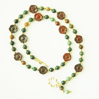 Fancy Jasper Bead Necklace, Perfect Gift or to Treat Yourself, Unique Front Toggle Clasp, Gift for Her, READY TO SHIP
