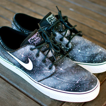 1a73d53a1cb0 Custom Hand Painted Twilight Zone Black and White Galaxy Nike Stefan  Janoski Skate Shoes